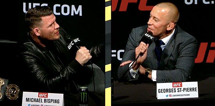 Перепалка Майкла Биспинга и Джорджа Сент-Пьера на пресс конференции UFC 217